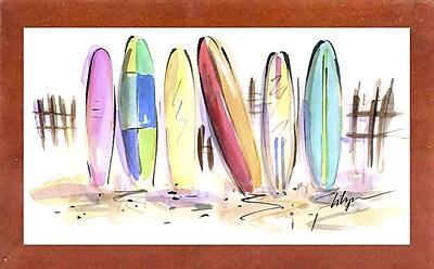 Harriet Bee 'Surf's Up' Print; Canadian Walnut Wood Medium Framed Paper