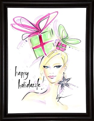 East Urban Home 'Happy Holidazzle' Print; Bistro Expresso Framed Paper