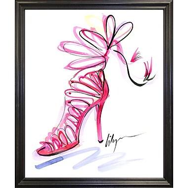 East Urban Home 'Pink Up Your Heels' Print; Black Wood Grande Framed Paper