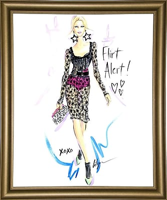 East Urban Home 'Flirt Alert' Print; Bistro Gold Framed Paper