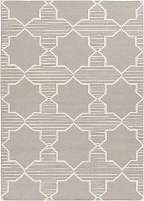 Harriet Bee Bayonne Grey/White Geometric Rug; 7' x 10'