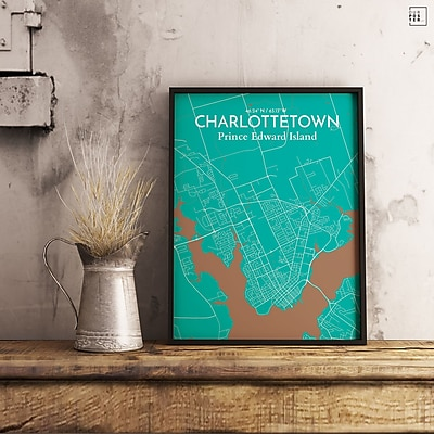 OurPoster.com 'Charlottetown City Map' Graphic Art Print Poster in White; 36'' H x 24'' W
