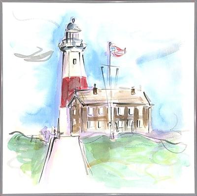 Highland Dunes 'Montauk Lighthouse' Print; White Metal Framed Paper