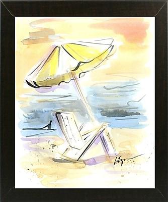 Highland Dunes 'Beach View' Print; Brazilian Walnut Wood Medium Framed Paper