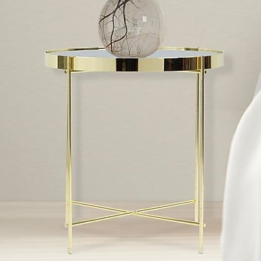 Mercer41 Farina Round End Table; Gold/Clear