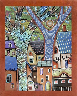Winston Porter 'Dwellings' Print; Canadian Walnut Wood Medium Framed Paper