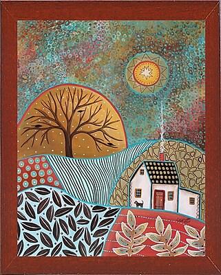 Winston Porter 'Pastoral 1' Print; Red Mahogany Wood Medium Framed Paper