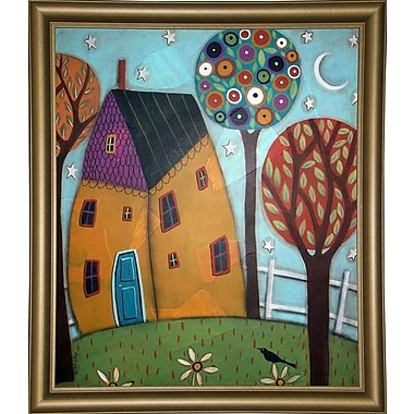 Winston Porter 'House Trees and Daisies' Print; Bistro Gold Framed Paper