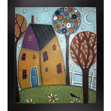 Winston Porter 'House Trees and Daisies' Print; Black Floater Framed Canvas