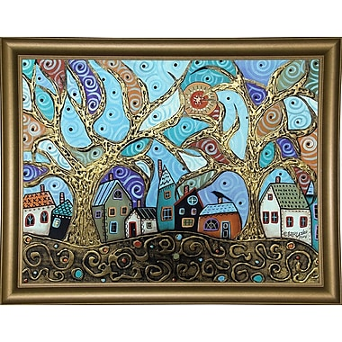 Winston Porter 'Gold Trees' Print; Wood Floater Framed Wrapped Canvas