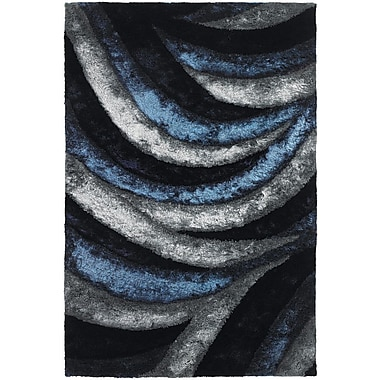 East Urban Home Shag Navy Area Rug; 7'9'' x 10'6''