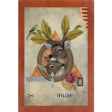 East Urban Home 'Oh Deer' Framed Graphic Art Print; Canadian Walnut Wood Medium Framed Paper