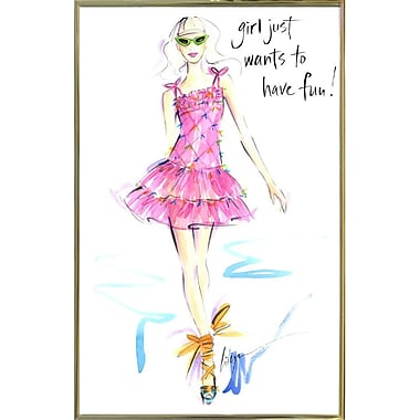 East Urban Home 'Girl Just Wants to Have Fun' Print; Gold Metal Framed Paper