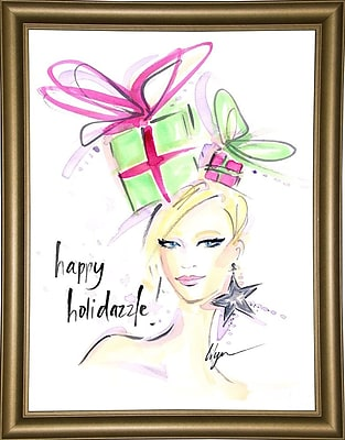 East Urban Home 'Happy Holidazzle' Print; Bistro Gold Framed Paper