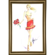 East Urban Home 'Flower Tag' Print; Bistro Gold Framed Paper