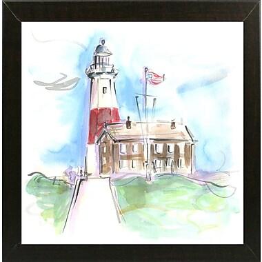 Highland Dunes 'Montauk Lighthouse' Print; Brazilian Walnut Wood Medium Framed Paper