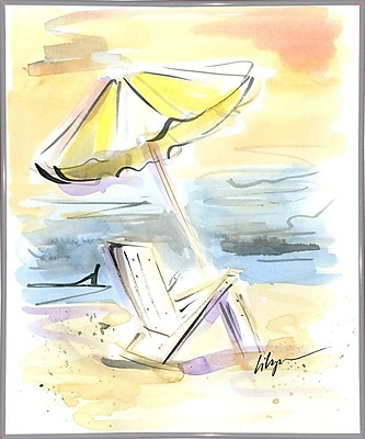 Highland Dunes 'Beach View' Print; White Metal Framed Paper