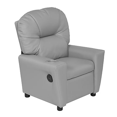 Harriet Bee Cayeman Youth Recliner Faux Leather Chair w/ Cup Holder and Dual USB; Gray