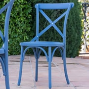 Winston Porter Blakemore Vintage Style Patio Dining Chair (Set of 2); Blue