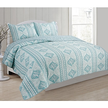 Panama Jack Antigua 3 Piece Reversible Quilt Set; Queen