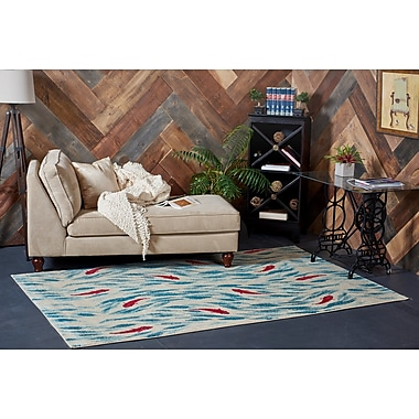 World Menagerie Jaliyah Blue/Red Area Rug; Rectangle 3' x 5'