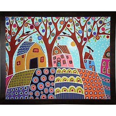 Winston Porter 'Trees Houses Barn and Birds' Print; Cafe Espresso Wood Framed Paper