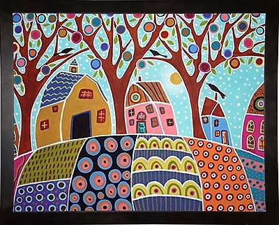 Winston Porter 'Trees Houses Barn and Birds' Print; Cafe Espresso Wood Framed Paper