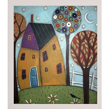 Winston Porter 'House Trees and Daisies' Print; White Wood Medium Framed Paper