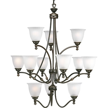 Alcott Hill Denton 12-Light Shaded Chandelier; Forged Bronze