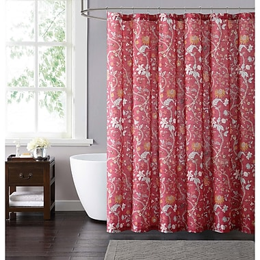 August Grove Felton Shower Curtain; Red