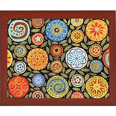 Winston Porter 'Garden Blooms 1' Print; Red Mahogany Wood Medium Framed Paper