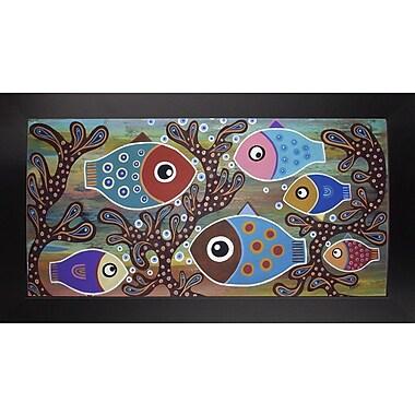 Winston Porter '6 Fish' Print; Black Wood Large Framed Paper