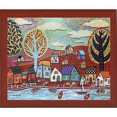 Winston Porter 'Shoreline 1' Print; Red Mahogany Wood Medium Framed Paper