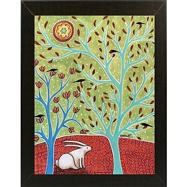 Winston Porter 'Bunny' Print; Brazilian Walnut Wood Medium Framed Paper