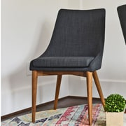 Corrigan Studio Quentin Upholstered Dining Chair (Set of 2); Dark Gray