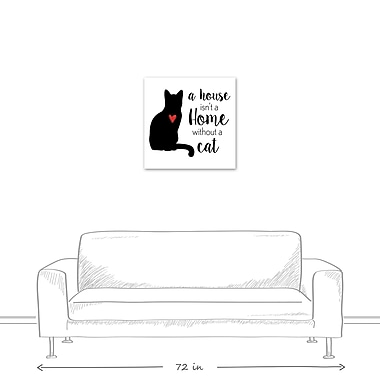 East Urban Home 'House Home Cat' Textual Art on Canvas; 24'' H x 24'' W