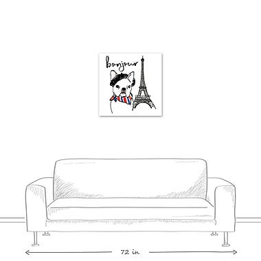 East Urban Home 'Bonjour Frenchie Dog' Graphic Art Print on Canvas; 24'' H x 24'' W