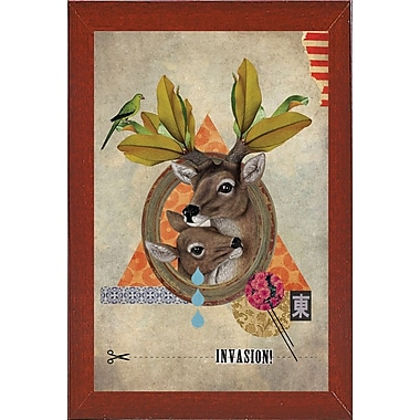 East Urban Home 'Oh Deer' Framed Graphic Art Print; Red Mahogany Wood Medium Framed Paper