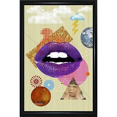 East Urban Home 'Retro Kiss' Framed Graphic Art Print; Black Metal Flat Framed Paper