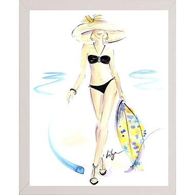 East Urban Home 'Bikini Thrill' Print; White Wood Medium Framed Paper