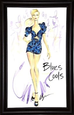 East Urban Home 'Blues Cools' Print; Bistro Expresso Framed Paper
