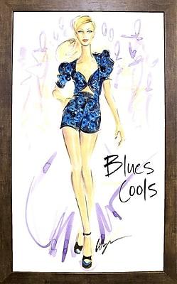 East Urban Home 'Blues Cools' Print; Cafe Mocha Framed Paper