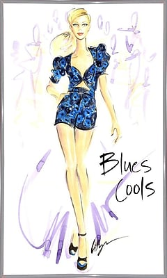 East Urban Home 'Blues Cools' Print; White Metal Framed Paper