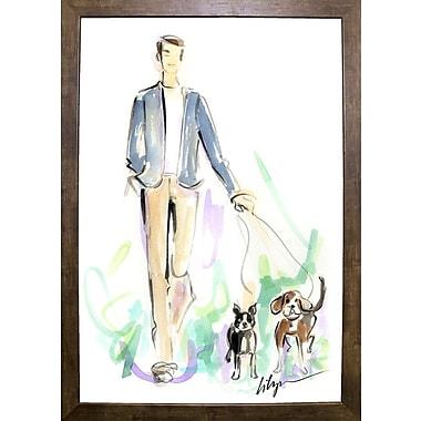 East Urban Home 'Dog Walkin' Print; Cafe Mocha Framed Paper