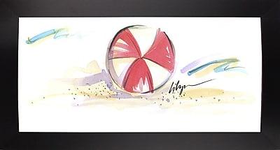 East Urban Home 'Beach Ball' Print; Black Wood Large Framed Paper
