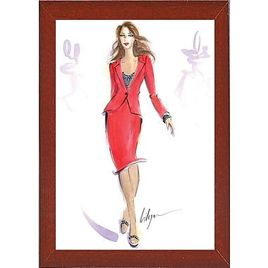 East Urban Home 'She Means Business' Print; Red Mahogany Wood Medium Framed Paper