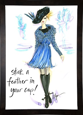 East Urban Home 'Stick a Feather in Your Cap' Print; Cafe Espresso Wood Framed Paper