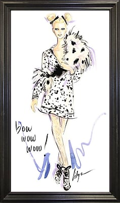 East Urban Home 'Bow Wow Wow' Print; Black Wood Grande Framed Paper