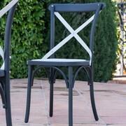 Winston Porter Blakemore Vintage Style Patio Dining Chair (Set of 2); White/Black