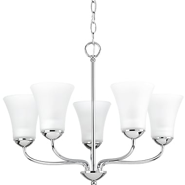Winston Porter Bogdan 5-Light Shaded Chandelier; Polished Chrome